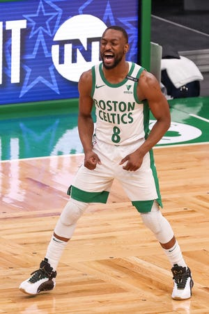 Celtics guard Kemba Walker reacts during the second half against the Clippers Tuesday night at TD Garden.