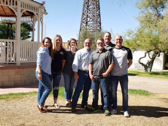 Taft Union Oil Technology Academy staff includes, left to right,  April Conners, Lisa Borrecco, Angela Pendergrass, Ted Pendergrass, Alan Popejoy, Mike Goodwin, and Eric Newton.