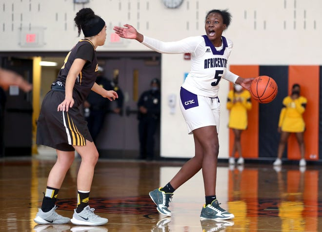 Senior guard Arianna Smith scored 20 points in Africentric's 58-33 win at Cardington on Feb. 26 in a Division III district final. The Nubians won their 16th district title in 18 seasons.