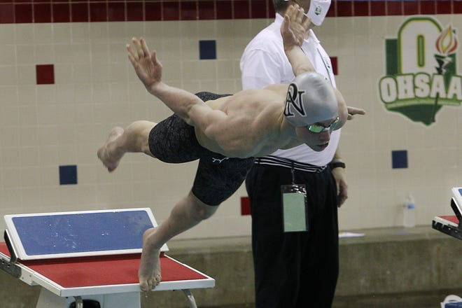 North's Marcus Schwartz dives in for the 200-yard individual medley during the Division I state meet Feb. 27 at Branin Natatorium in Canton. He was the Panthers' only state qualifier and the first for the boys team since 2017.