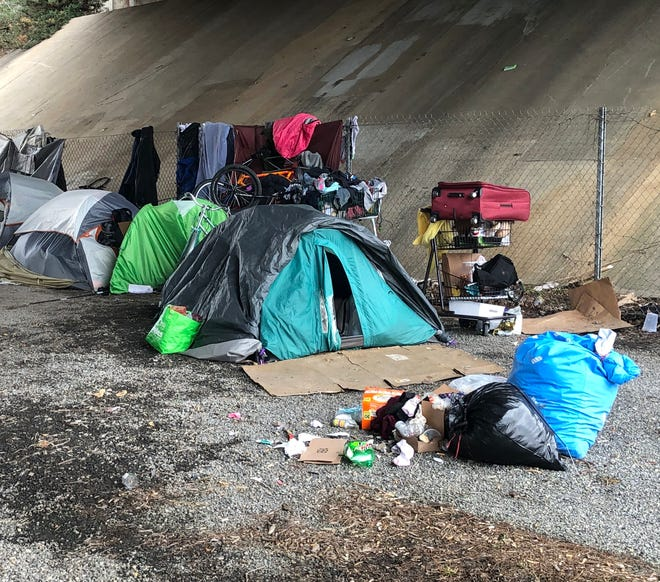 A homeless encampment under I-240 on Lexington Avenue in downtown Asheville was back in place March 2. The N.C. DOT had removed it after complaints about camp fires and sanitation issues.
