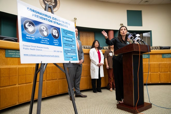 Nueces County Judge Barbara Canales speaks about the preparation for coronavirus in the area at a news conference on Wednesday, March 11, 2020, at Corpus Christi City Hall.
