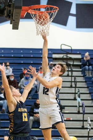 Adena senior Preston Sykes takes it to the rim against Southpoint in a Division III district semifinal game at Adena High School on Mar. 1, 2021, in Frankfort, Ohio. Adena defeated Southpoint 74-48.