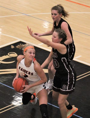 Ryle senior Brie Crittendon goes up for a shot as Ryle defeated Owen County 65-28 in KHSAA girls basketball March 2, 2021, at Ryle High School, Union, Ky.