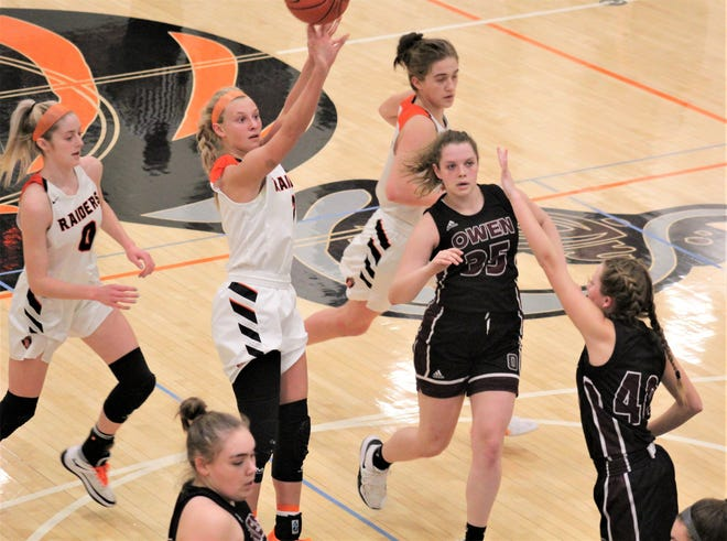 Ryle senior Brie Crittendon puts up a shot as Ryle defeated Owen County 65-28 in KHSAA girls basketball March 2, 2021, at Ryle High School, Union, Ky.