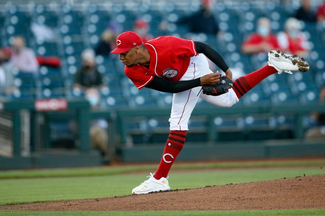 Cincinnati Reds starting pitcher Hunter Greene (79) throws a pitch in the first inning of the MLB Cactus League Spring Training game between the Cincinnati Reds and the Los Angeles Angels at Goodyear Ballpark in Goodyear, Ariz., on Tuesday, March 2, 2021.