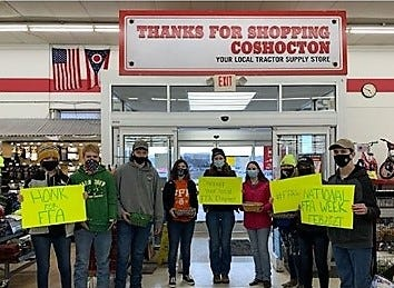 River View FFA members greeted customers at Coshocton Tractor Supply as part of ag awareness. They handed out cookies and gave out prizes at trivia stations.
