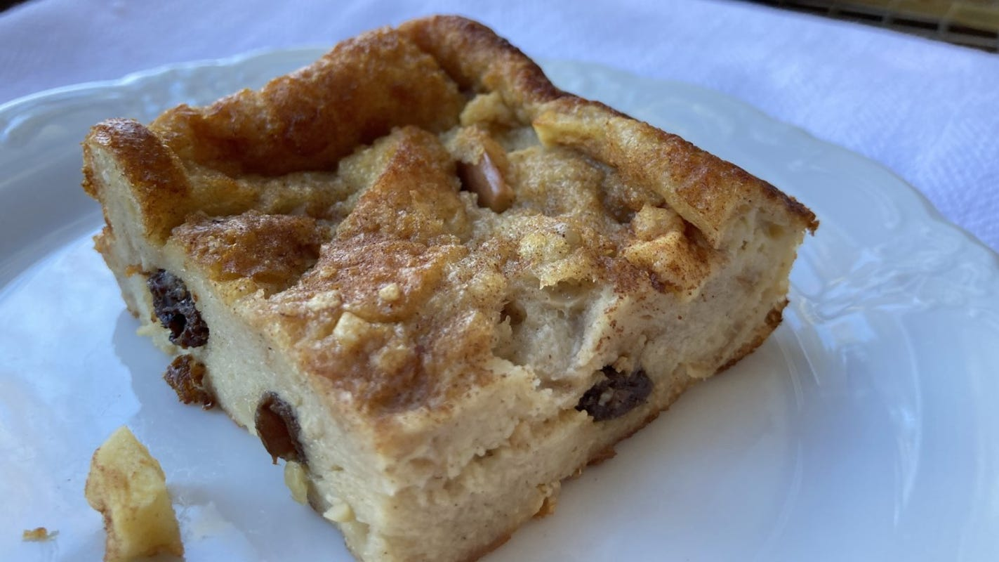 1% milk saves comforting bread pudding from excess fat and calories