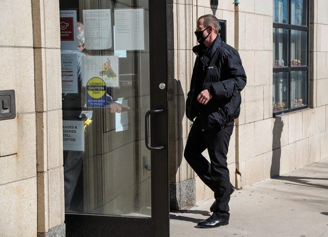 Pete Musico enters the Jackson County Courthouse for a preliminary examination in Jackson on March 3, 2021.