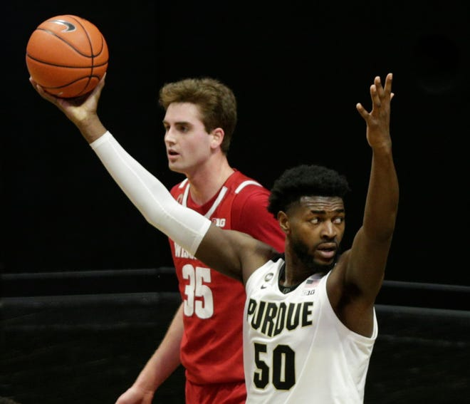 Purdue forward Trevion Williams (50) reacts during the second half of an NCAA men's basketball game, Tuesday, March 2, 2021 at Mackey Arena in West Lafayette.