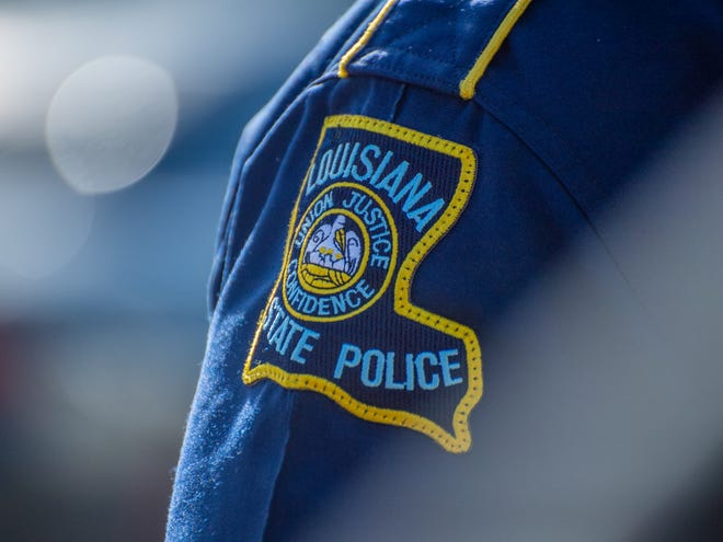 A Louisiana State Police patch is shown in this March 3 file photo.