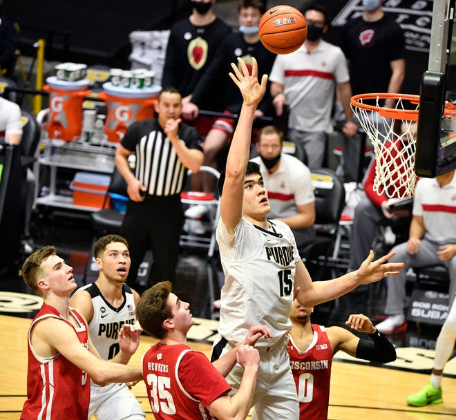 The Badgers had few answers for Purdue's  7-foot-4 freshman center Zach Edey who finished with a career-high 21 points Tuesday.
