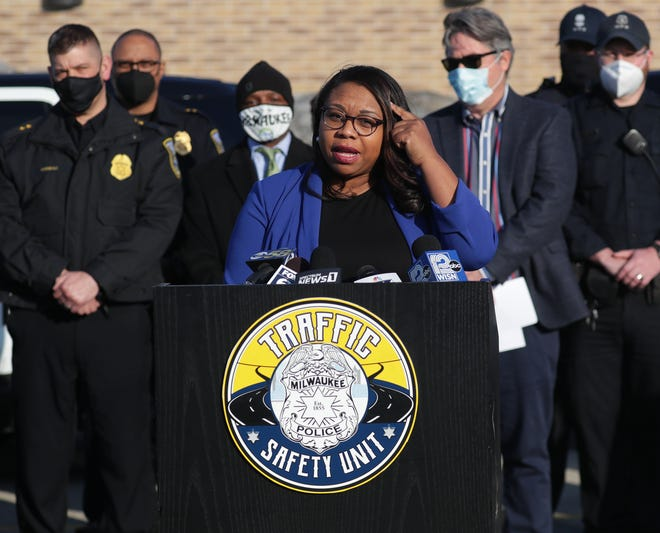Milwaukee Ald. Chantia Lewis speaks during a news conference about the Milwaukee Police Department's new initiative to combat reckless driving, held at Midtown Center on West Capitol Drive in Milwaukee on Wednesday, March 3, 2021.