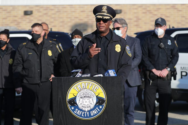 Milwaukee Police Department Acting Police Chief Jeffrey Norman speaks during a news conference regarding the department's new initiative to combat reckless driving, held at Midtown Center on West Capitol Drive in Milwaukee on Wednesday, March 3, 2021.