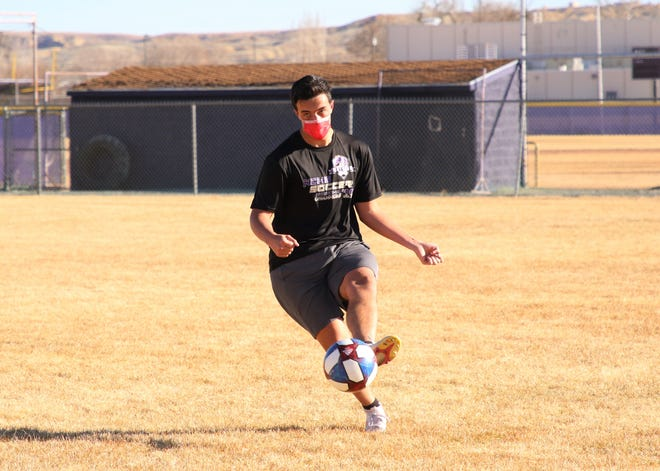 After tallying 20 goals and 20 assists last season, Kirtland Central's Jaxon Manning, seen here during practice on Tuesday, March 2, 2021, at KCHS,  is preparing to draw more double and triple coverage on the attack and set up extra scoring chances for teammates this season.