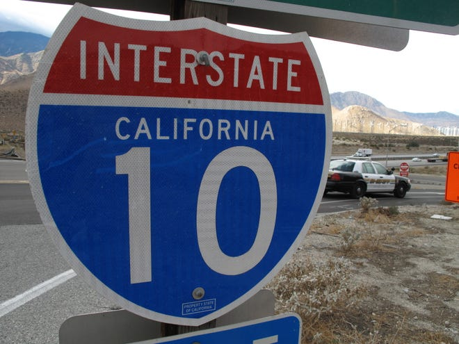 A freeway entrance sign for westbound Interstate 10 is seen on Haugen-Lehmann Way in Whitewater.