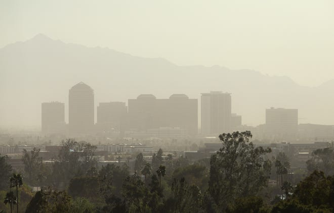Southerly winds move dust through Phoenix on Wednesday afternoon, March 3, 2021.