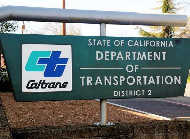 Sign outside the state Department of Transportation's District 2 office off Riverside Drive in Redding.