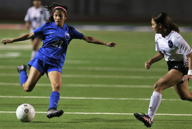 San Angelo Lake View High School's Lexy Rangel, 21, gets ready to make a shot on goal against Lubbock Estacado in a District 3-4A soccer game at San Angelo Stadium on Tuesday, March 2, 2021.