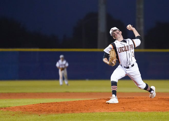 Lincoln Park Academy's Matt Pizzarello delivers a pitch against Jensen Beach in a baseball game at Bob Gladwin Baseball Complex on Tuesday, March 2, 2021, in Fort Pierce.