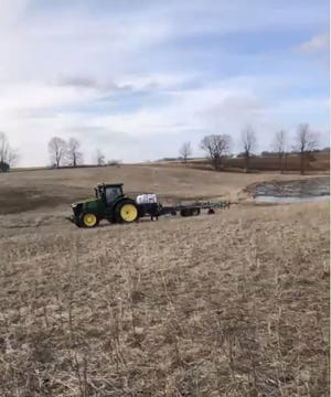 While the ground is still frozen, farmers are able to take advantage of the small window and frost seeding a cover or forage crop.