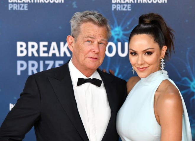 David Foster and Katharine McPhee attend the 2020 Breakthrough Prize Red Carpet at NASA Ames Research Center on November 03, 2019 in Mountain View, California.