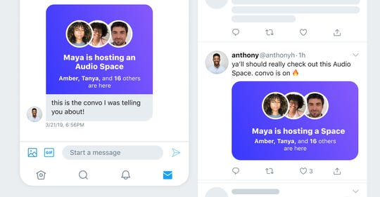 "Twitter says Spaces are for ""small and intimate conversations"" or ""big discussions."""