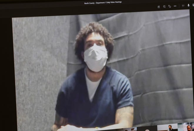 Kellen Winslow II appears via video at his sentencing hearing at the Superior Court North County Division on Wednesday.