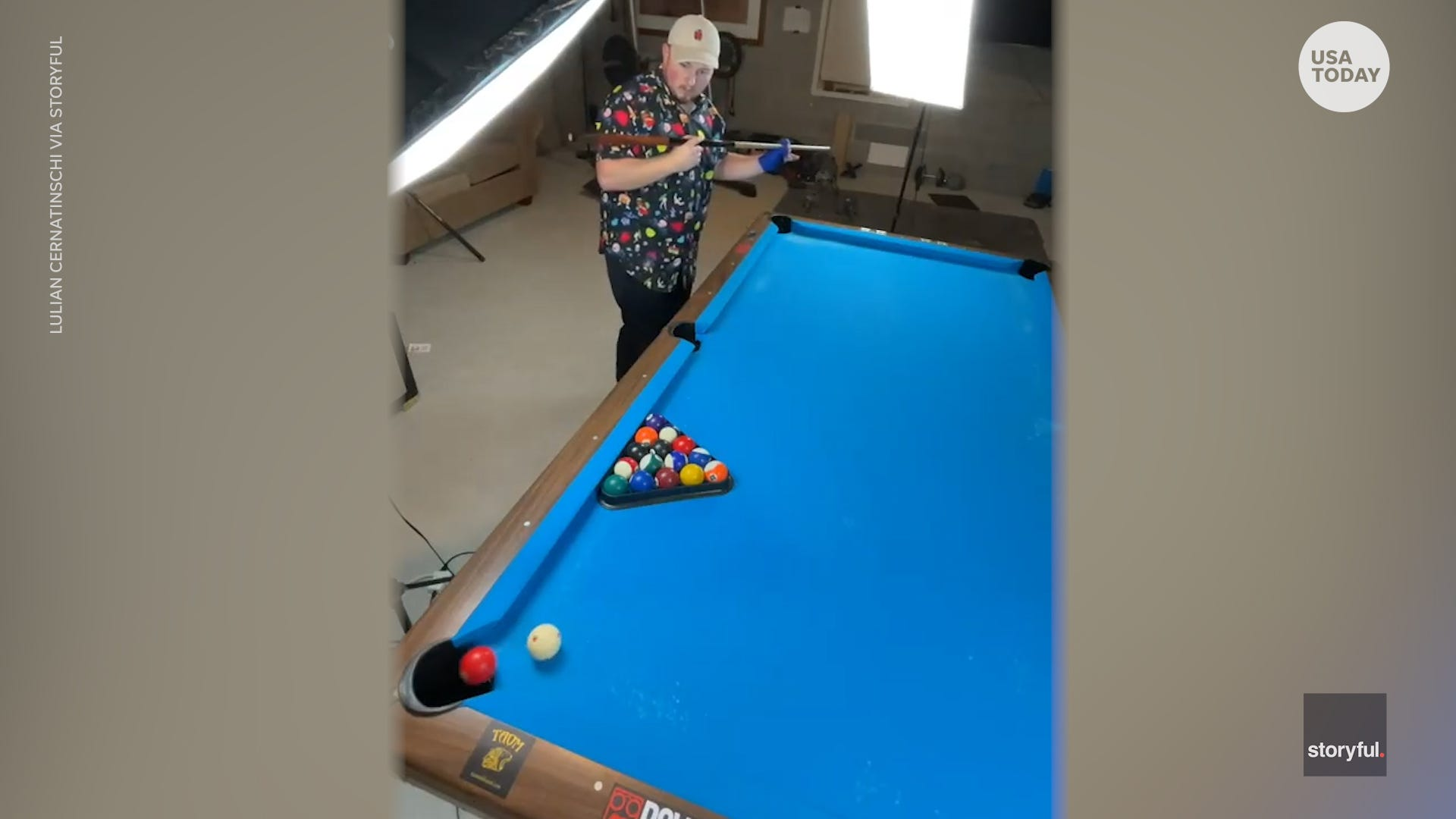 This pool player shows off his impressive billiard skills with insane trick shots