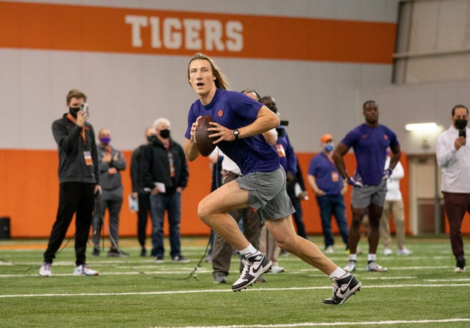 Trevor Lawrence worked out during a pro day in Clemson, South Carolina, last month.