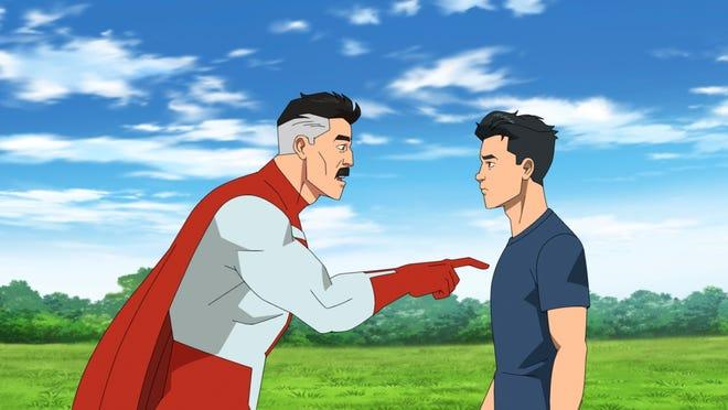 "Omni-Man (J.K. Simmons) and his son Mark (Stephen Yeun) on Amazon's ""Invincible."""