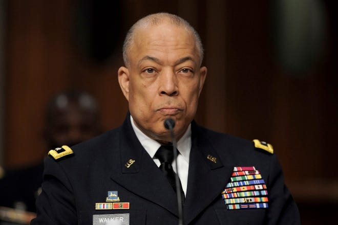 Army Maj. Gen. William Walker, Commanding General of the D.C. National Guard listens during a Senate Committee on Homeland Security and Governmental Affairs and Senate Committee on Rules and Administration joint hearing March 3, 2021, examining the Jan. 6 attack on the Capitol.