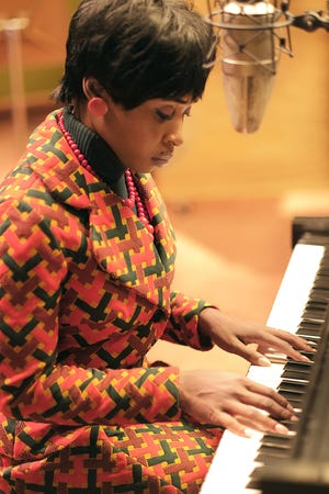 Aretha Franklin, played by Cynthia Erivo, recording at Fame Studios in Muscle Shoals, Ala.
