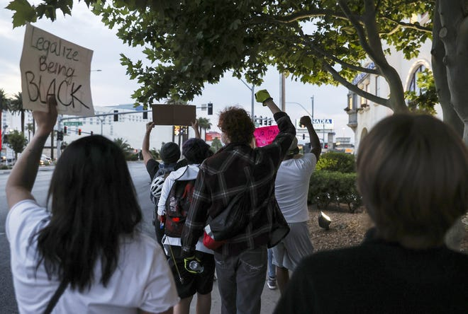 People march during a Black Lives Matter protest in Las Vegas on June 2, 2020. [Chase Stevens/Las Vegas Review-Journal via AP, File]