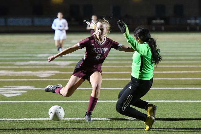 Bastrop's Layne Ellsworth makes a move on the Connally goalkeeper during the Bears' victory Tuesday.