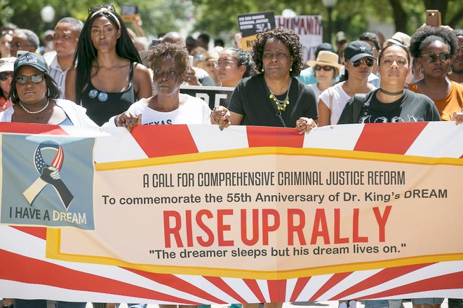Criminal justice reform activists from across Texas commemorated the 55th anniversary of the historic March on Washington with a Rally for Justice And Equality on the State Capitol steps on August 28, 2018. [RALPH BARRERA / AMERICAN-STATESMAN]