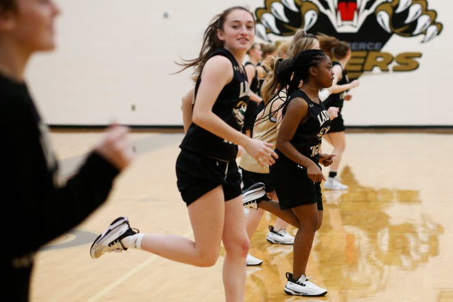 The Commerce girls basketball team runs a drill during a team practice in Commerce, Ga., on Thursday, March 4, 2021. The team is the first at the school to make it to the final four since 1989. (Photo/Joshua L. Jones, Athens Banner-Herald)