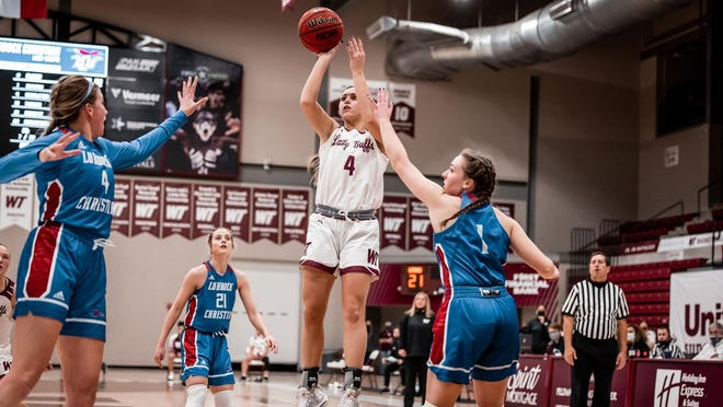West Texas A&M Lady Buff Lexy Hightower, pictured shooting during a recent game against Lubbock Christian University, was named the Lone Star Conference Player of the Year to go along with First Team honors in the league's annual women's basketball postseason awards.