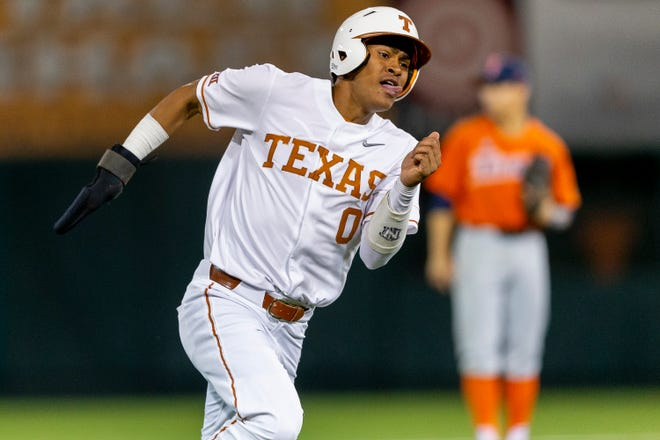 Texas' Trey Faltine, shown in action during a game last season, went 2-for-3 with four RBIs to lead the Longhorns past Texas State 10-3 on Wednesday night in San Marcos.