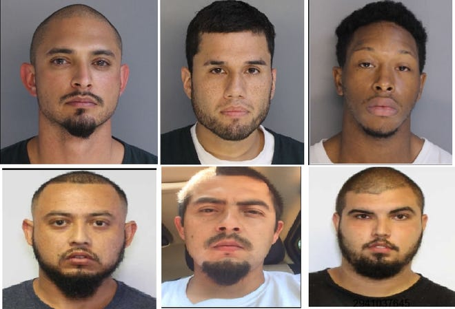 Top row from left to right: Ricardo Negrete, Serafin Leyva Jr. and John Williamson III have been arrested and charged in the death of Chandler Smith. Bottom row from left to right: Jesus Negrete, Gonzalo Negrete and Lorenzo Negrete are believed to have fled to Mexico.