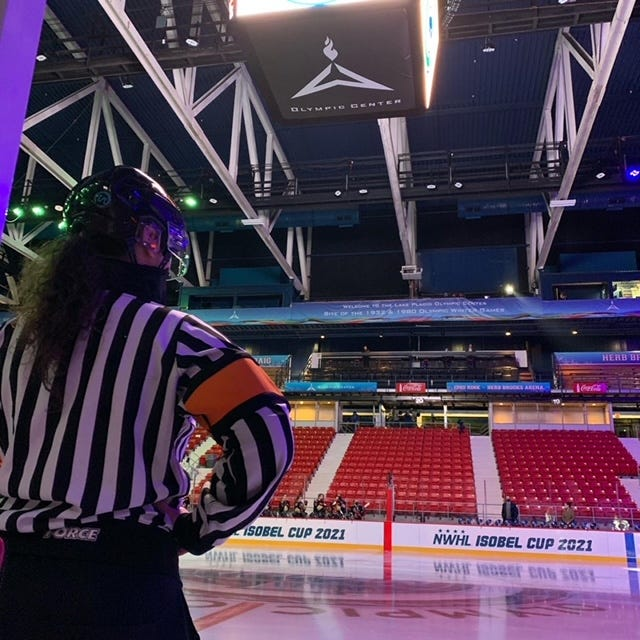 Laura White, of Runnemede, New Jersey, has officiated numerous high-level hockey tournaments, including the International Ice Hockey Federation Championship.