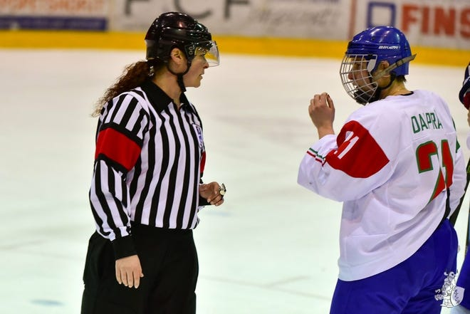 Hockey official Laura White, of Runnemede, New Jersey.