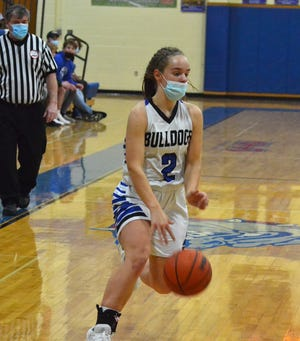 Junior Alyssa Byrne (2) scored a team-high 14 points and grabbed eight rebounds to help lead the Inland Lakes girls to a victory at Onaway on Wednesday.
