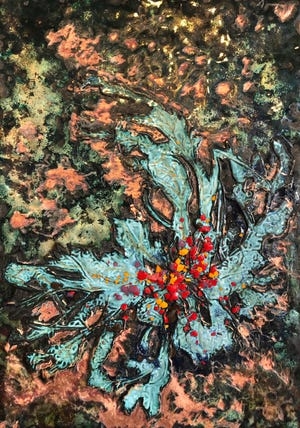 """Emerging Weed,"" enamel artwork by Jennifer McCracken"
