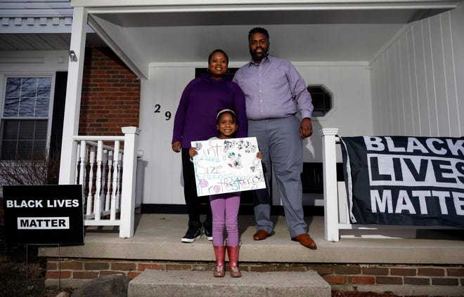 """Gahanna residents Jebel and Jamille Jones and their 6-year-old daughter, Zuli, started a group called """"Pint Size Protesters"""" to get families involved in social justice issues in safe and educational ways."""