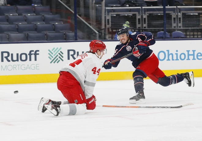 Blue Jackets right wing Cam Atkinson, here scoring against Detroit on Tuesday at Nationwide Arena, leads theNHLwith four short-handed goals.