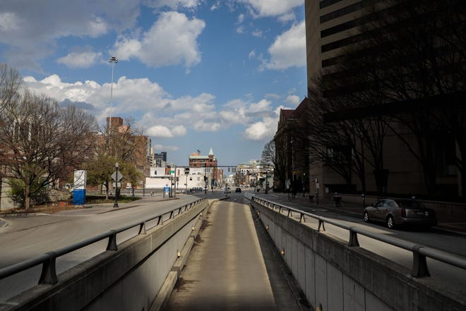 An empty State Street facing east during the ongoing COVID-19 pandemic on Tuesday, April 7, 2020 in Columbus, Ohio. [Joshua A. Bickel/Dispatch]