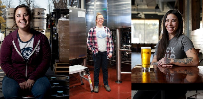 Third Eye Brewing Co. brewer Chloe Schaefer, left, created Empowerment Pale Ale with her female coworkers for International Women's Day using the Pink Boots Society hop mix. Brittany Frey, center, stands next to  one of the distillers in the MadTree Brewing cellar in Cincinnati. And Maddie Douglas, right, helped brew the Lady Peiskos beer for Combustion Brewery & Taproom in Pickerington.