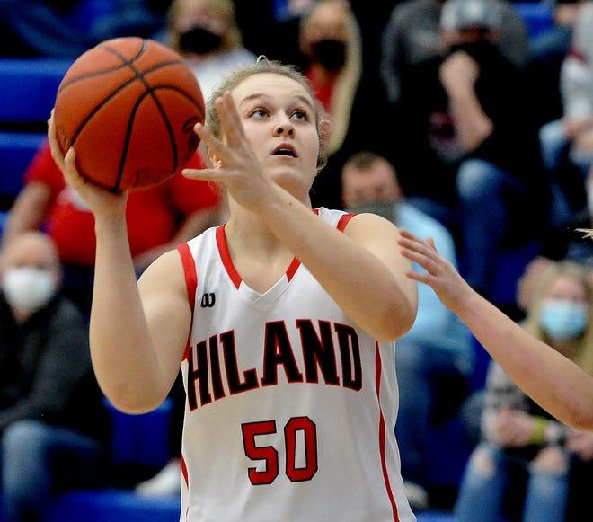 Hiland Zoe Miller puts up  a shot in the lane.