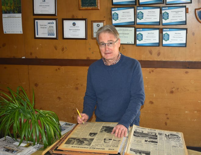 David Green, the longtime owner, editor and publisher of the State Line Observer Newspaper in Morenci stands in his office space in Morenci, 120 North Street. After many years of the State Line Observer being owned by Green and his family, the Observer has ceased existence upon the retirement of Green.